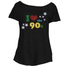 Loose Fit I Love The 90s GLITTER Ladies T-Shirt - Retro Fancy Dress Party Top